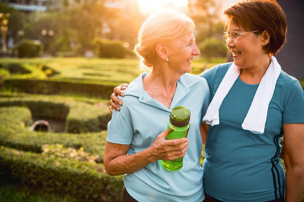 Senior Women Exercise Friendship Together