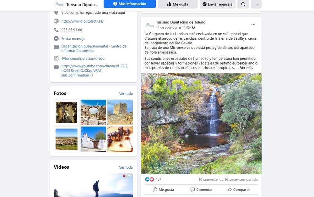 Captura página Facebook Turismo Diputación 19082020