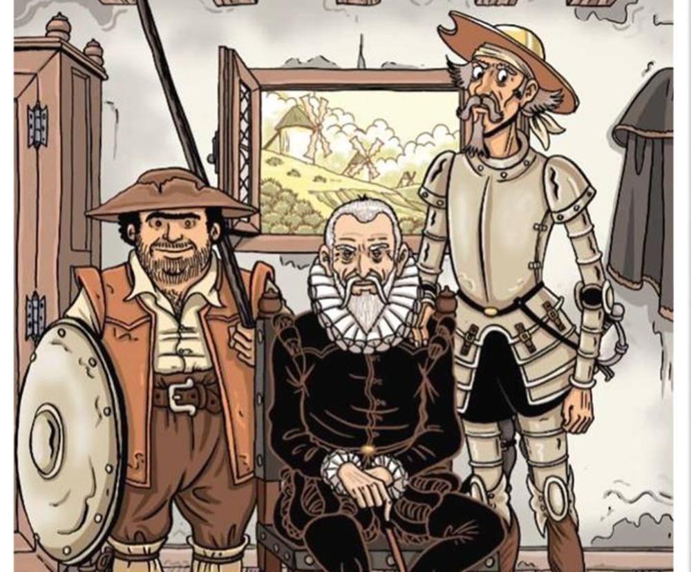Sancho, Cervantes y Don QuijoteGol